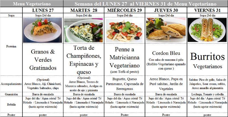 Menú Vegetariano del 27 al 31 de Enero de 2014   Menús Comedor ...