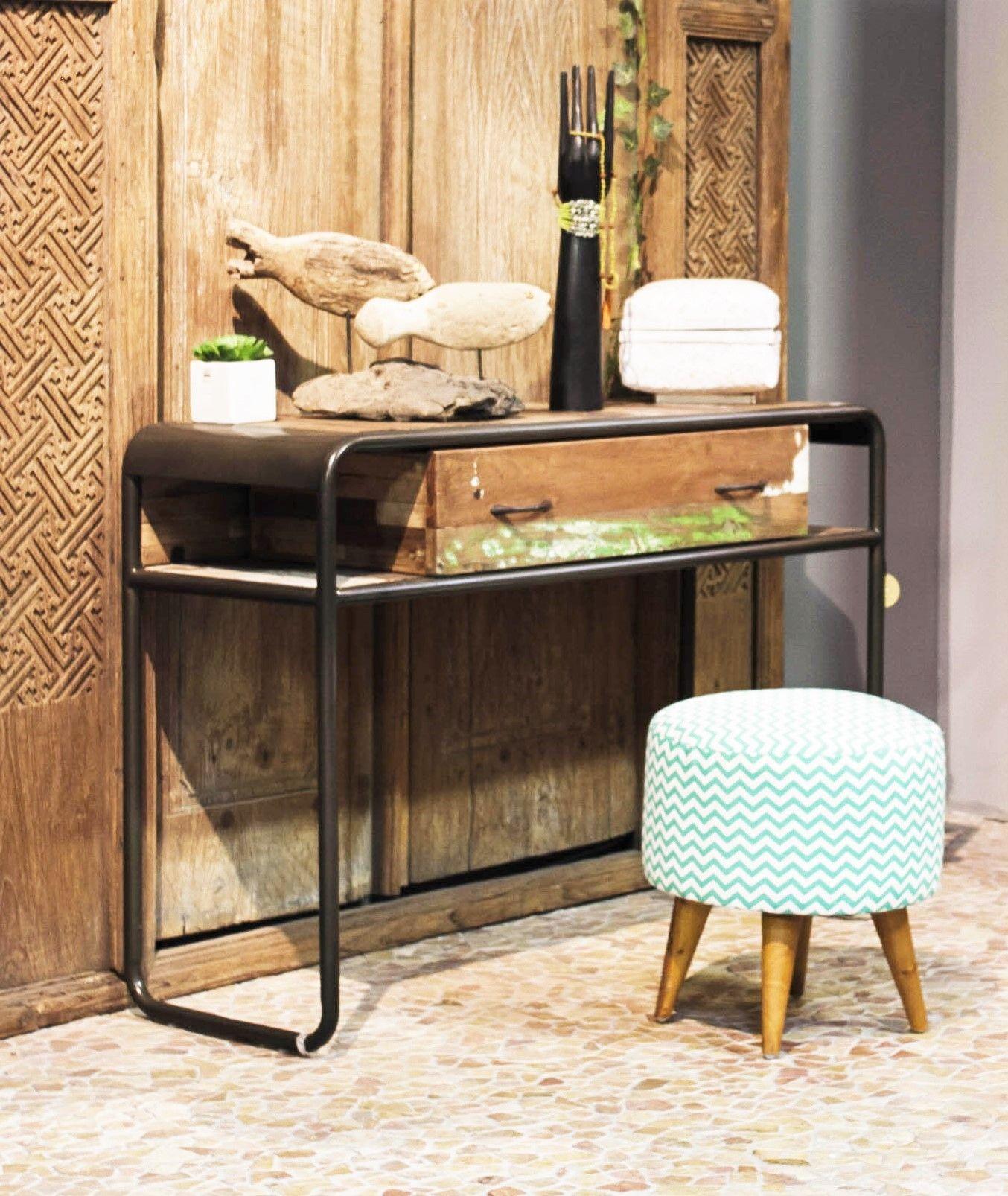 meuble vintage bois et fer meuble design industriel fer bois - Meuble Design Vintage