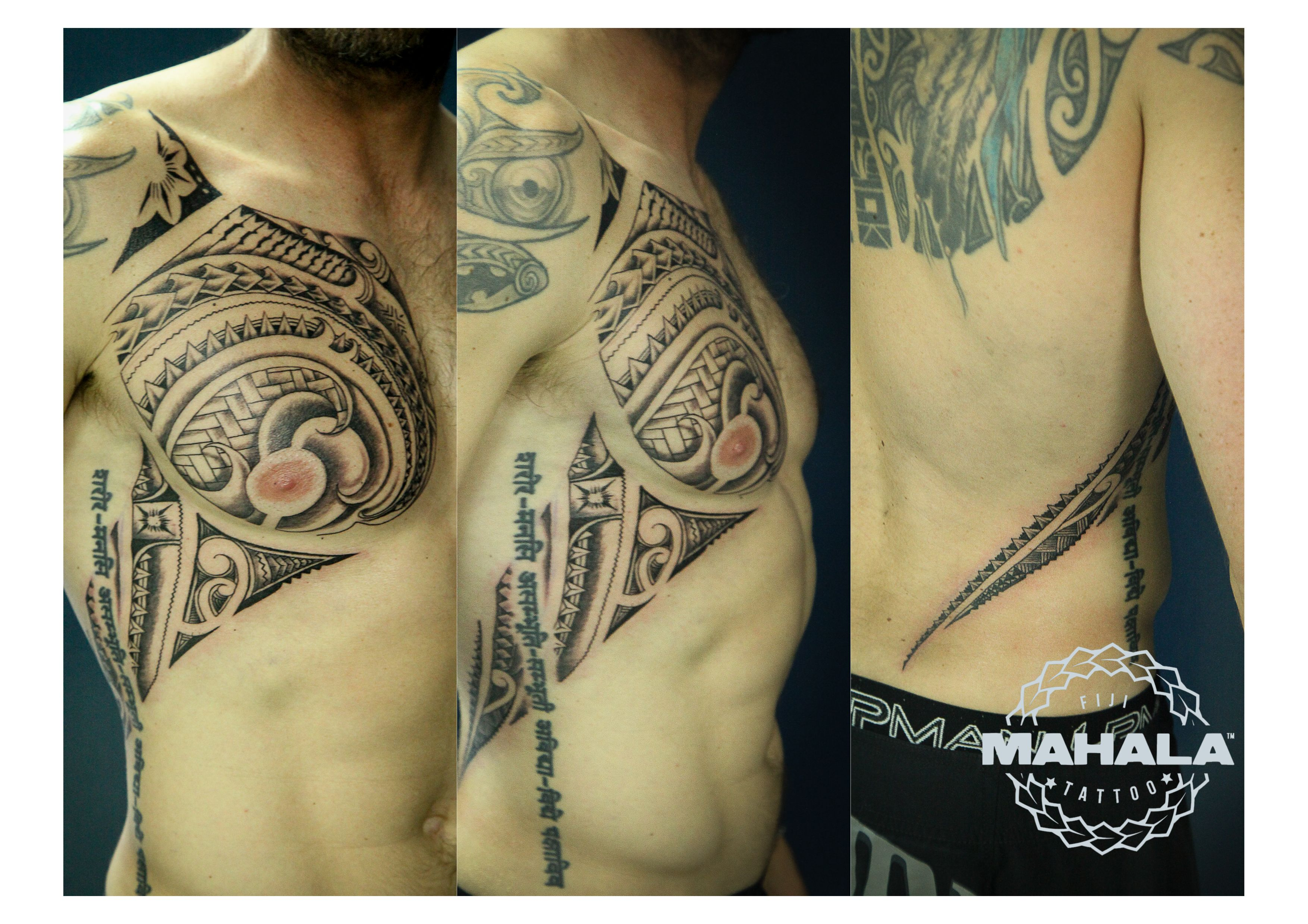 Polynesian tattoo on arm and chest - Polynesian Tattoo Chest And Side Piece By Mahala Tattoos Fiji