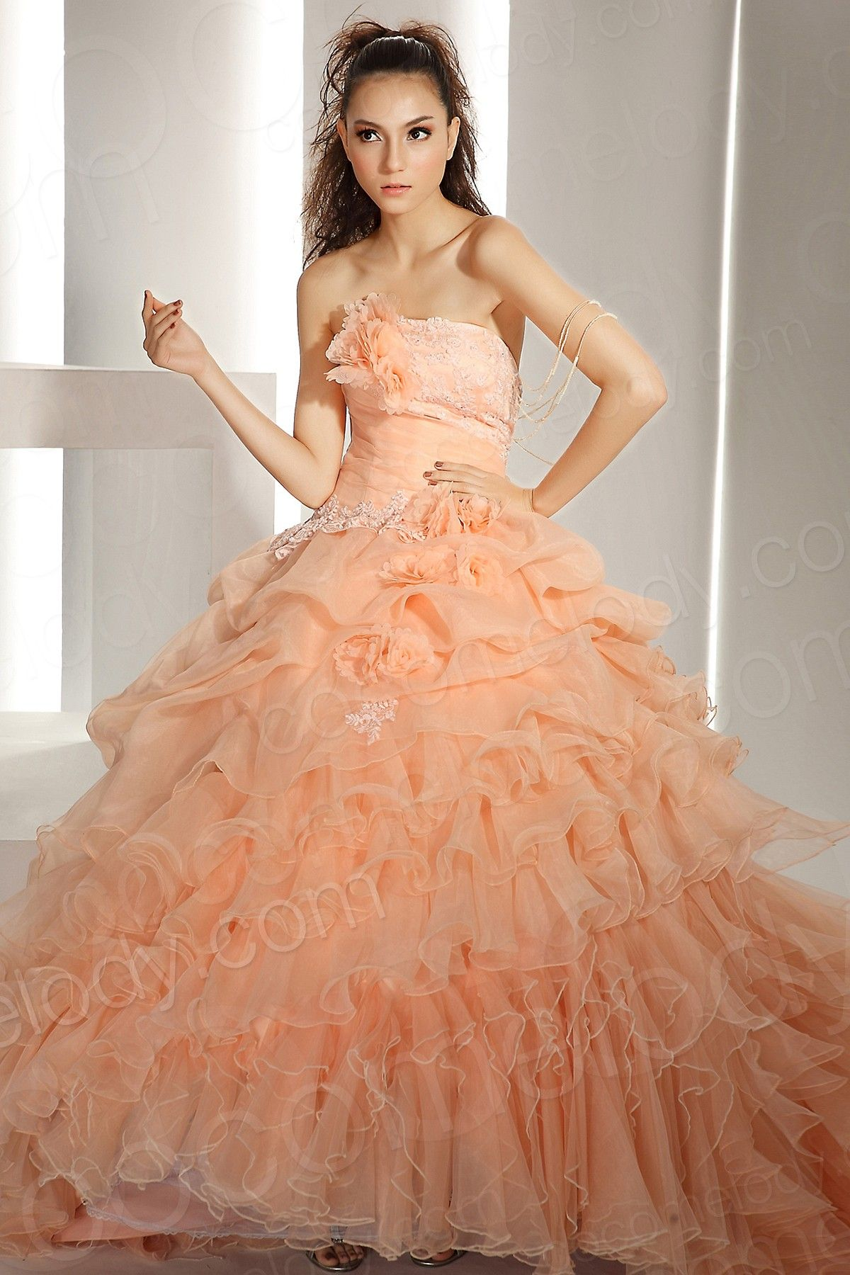 Hot selling ball gown strapless chapel train organza autumn sunset