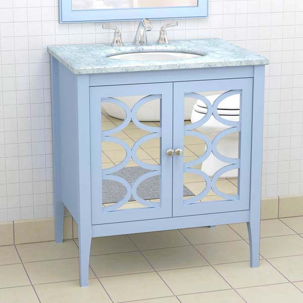 This Furniture Like Sink Console Features A Baby Blue Finish And Mirrored  Doors For An