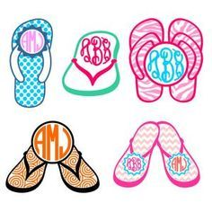 4c682acb2e47 Sandals Beach Flip Flops Monogram Round Circle Frame with Polka Dot ...