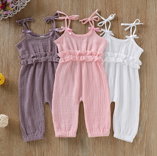 42e34c5e33cc Popples Boutique  Baby Girl s Solid Ruffled Strap Jumpsuit