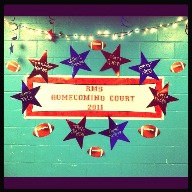 Homecoming Court display in the gym