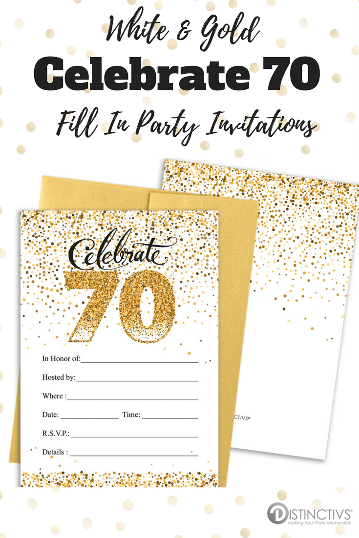 White and Gold - 70th Birthday Party Invitation Cards with Envelopes ...