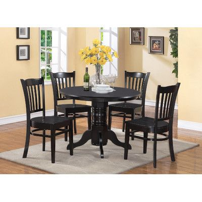 Breakwater Bay Gloucester 5 Piece Dining Set Finish: Black