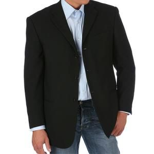 black suit jacket with blue jeans
