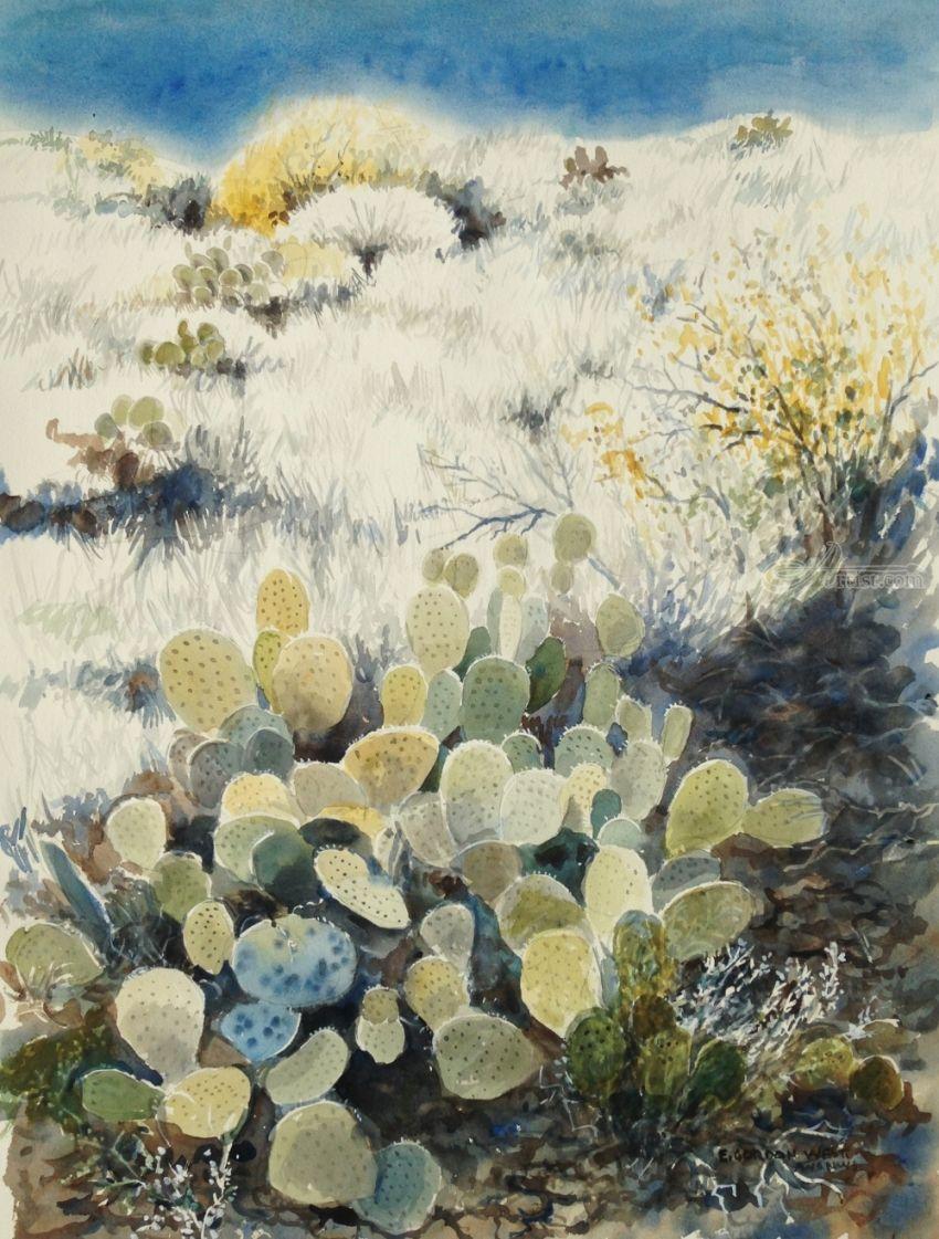 Watercolor artists names - Title Cacti Artist Name E West Description Landscape Of Desert Fauna