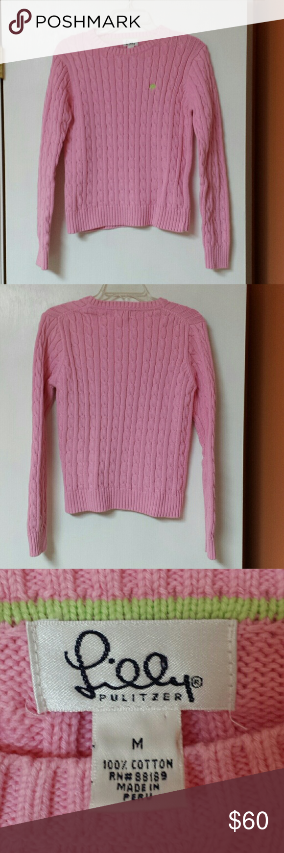 Lilly Pulitzer Cable Knit Cotton Sweater M Pink Cable Knit Sweater Cotton Sweater Sweaters