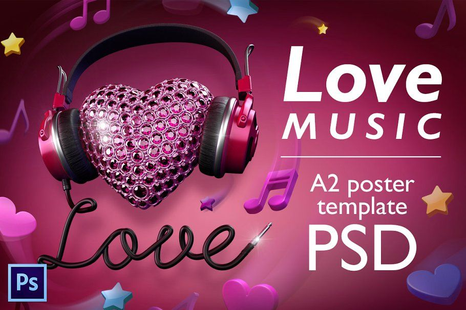 Love music PSD poster template in 2020 Psd poster