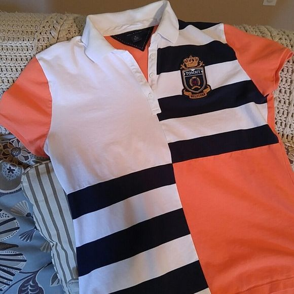 Tommy Hilfiger Colorblock Polo Shirt Preppy orange and navy blue polo with white collar. Never worn. Size XL. Tommy Hilfiger Tops