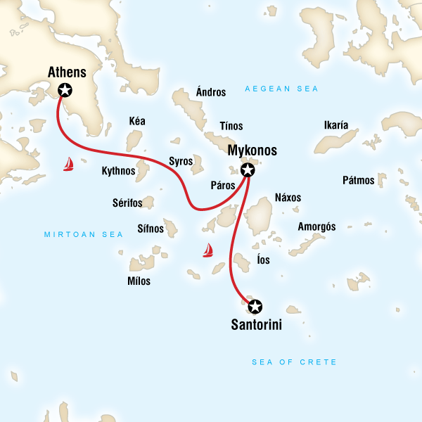 Map Of The Route For Sailing Greece Athens To Santorini