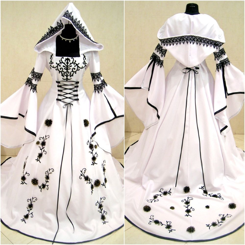 Medieval dress wedding goth 10 12 14 s m handfasting witch for Celtic pagan wedding dresses