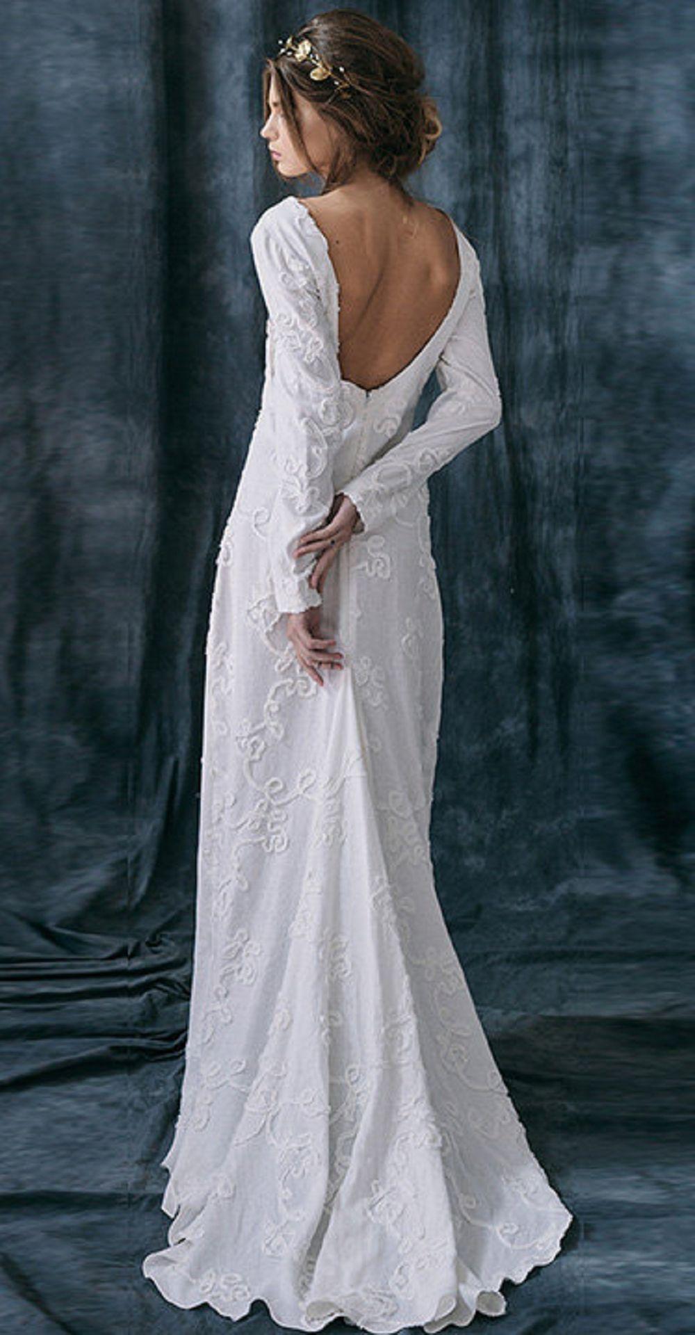 5de5123fce0 Razia   Bohemian Rustic wedding dress linen Alternative long sleeves ...