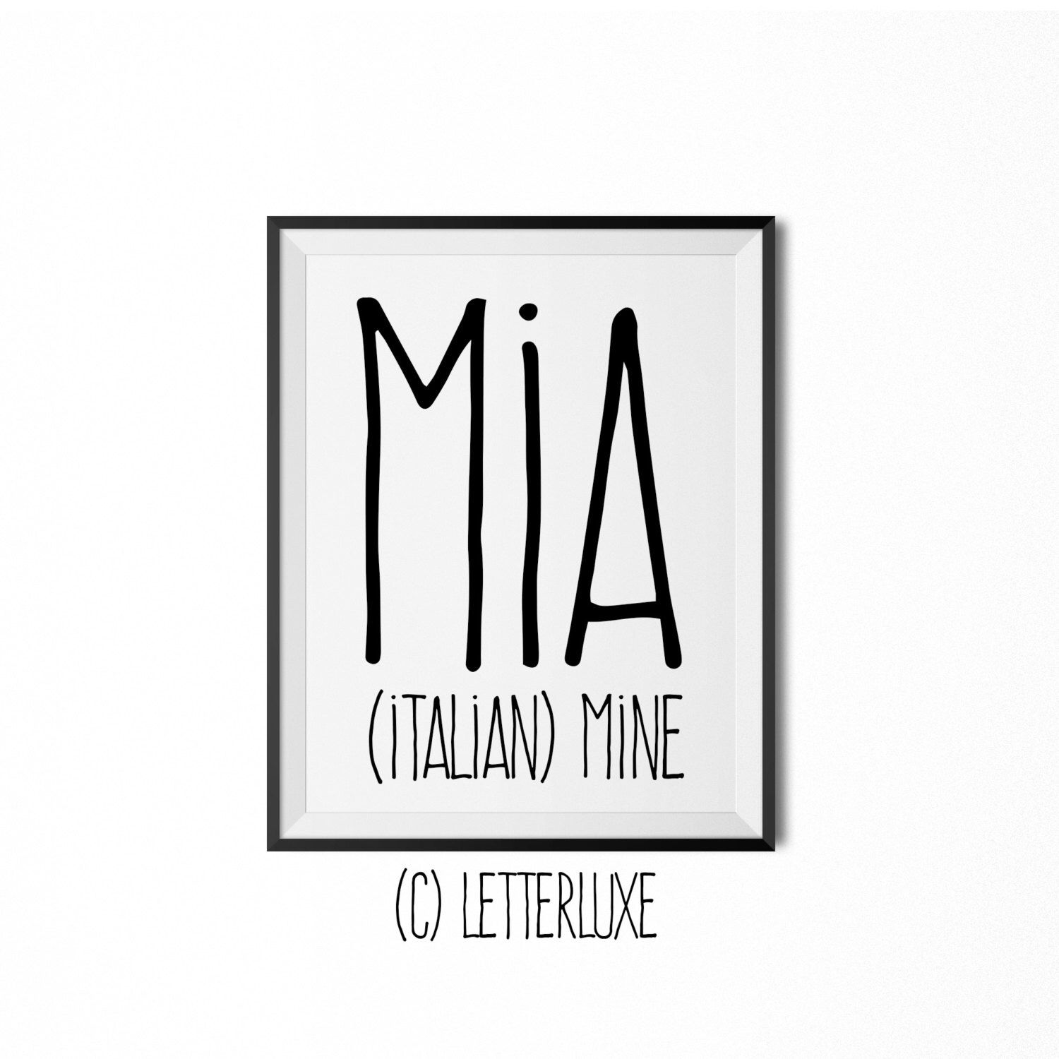 Mia Name Meaning Art - Printable Baby Shower Gift ...