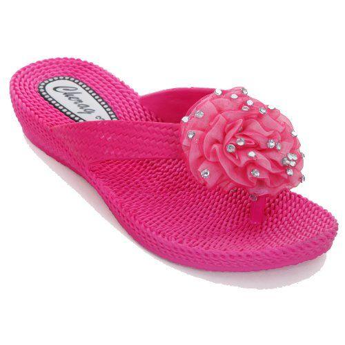 Sapphire Damen Flip Flop Sandalen Komfort Corsage Niedriger Absatz Strass Blume
