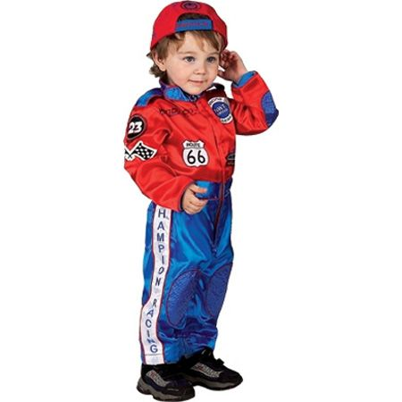 18 month jr champion race suit costume in red and blue