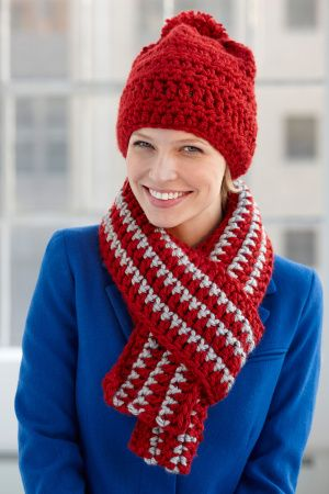 School Colors Hat And Scarf Set Lion Brand Yarns Hats Men