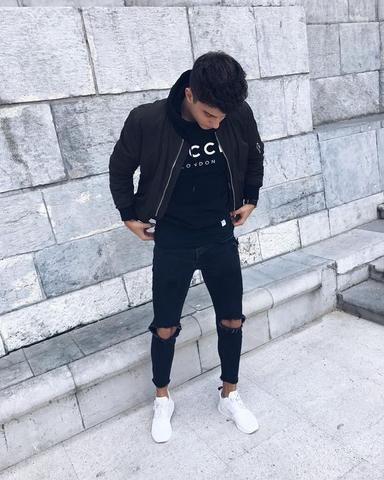 feinste Auswahl verschiedene Stile die beste Einstellung Slim Fit Ripped Jeans Men Hi-Street Mens Joggers Destroyed ...
