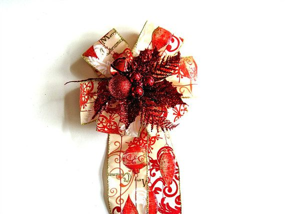 Red glitter Christmas tree bow Christmas gift by JDsBowCreations