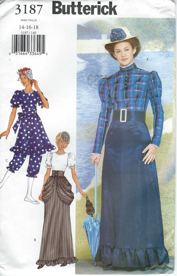 UNCUT Butterick 3187 Edwardian 1910 Style Misses Costume Pattern ...