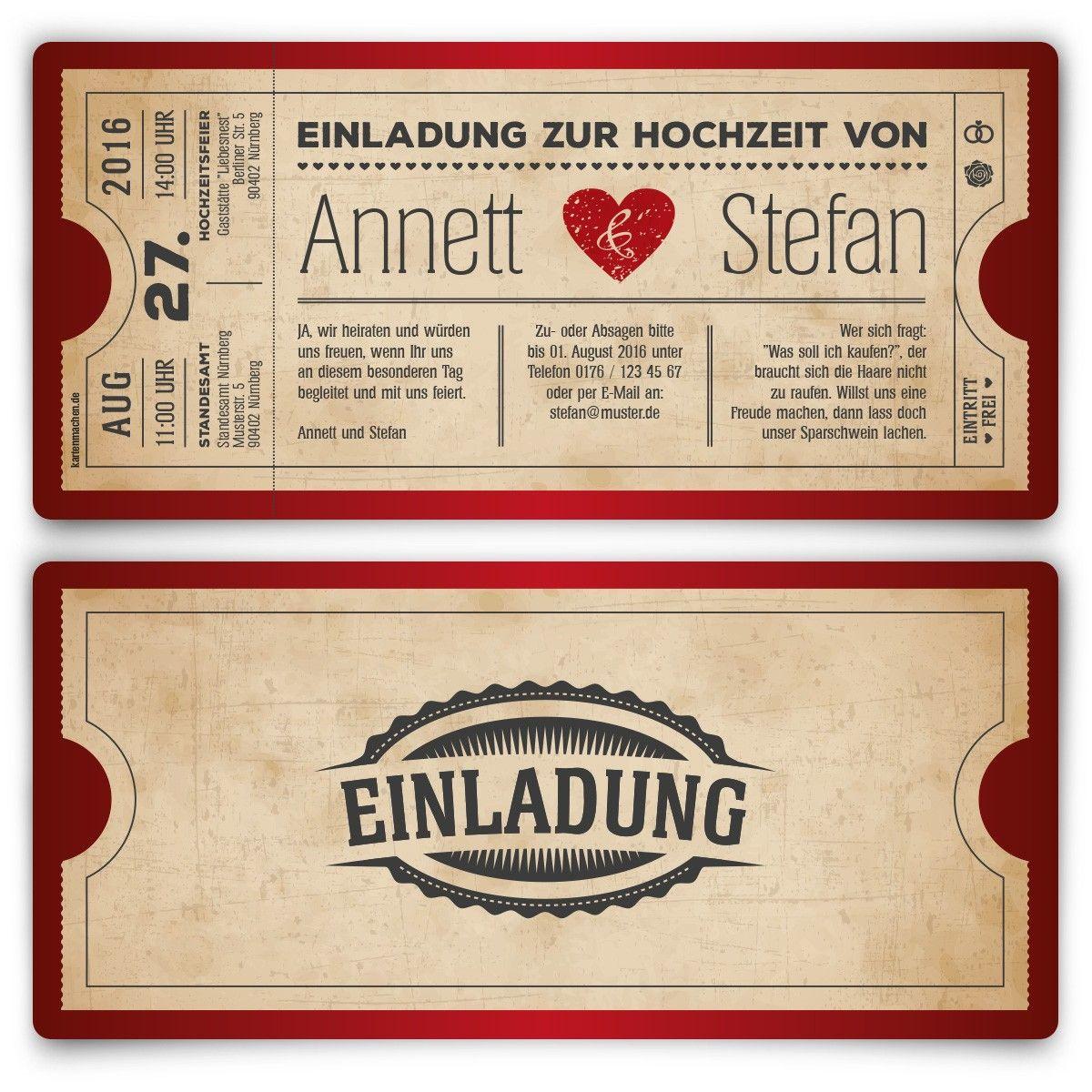 hochzeitskarten als eintrittskarte - vintage herz rot, Einladungsentwurf