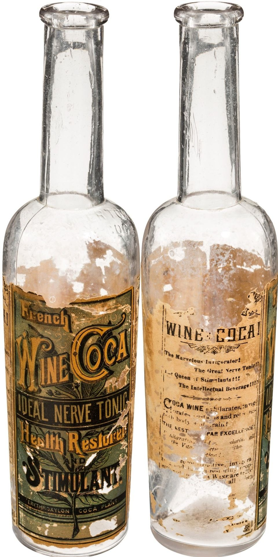 Pemberton's French Wine Coca. Incvented by John Stith Pemberton in 1885. It contained a mixture of Peruvian coca leaves, kola nut, damiana, and cocaethylene (cocaine mixed with alcohol). During the prohibition in 1886 they replaced the wine with sugar syrup and it changed name to Coca Cola.