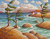 """Fine Art Print by Cathy Horvath - 8 1/2""""x11"""" Modern Wild Windy North Trees Folk Cottage Water Retreat, Giclee Landscape Reproduction Artwork"""
