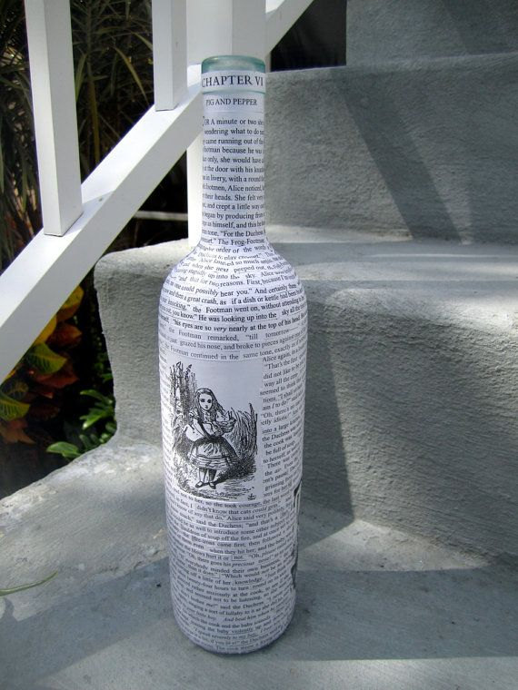 Alice In Wonderland Decorative Glass Bottle By Greencycledesigns, $30.00
