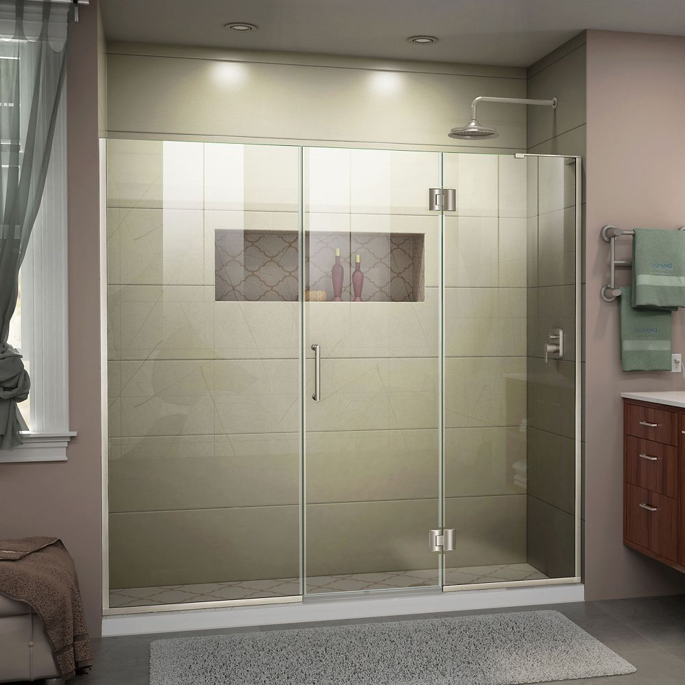Unidoor X 64 1 2 65 Inch W X 72 Inch H Frameless Hinged Shower Door In Brushed Nickel Finish Shower Doors Frameless Shower Doors Tub Shower Doors
