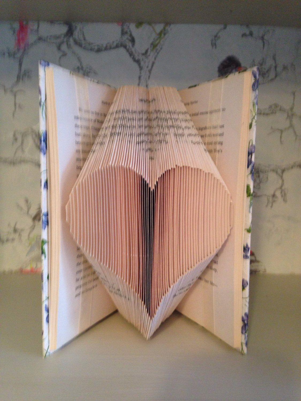 Folded book art heart by Quackers4Books on Etsy https://www.etsy.com/listing/288824715/folded-book-art-heart