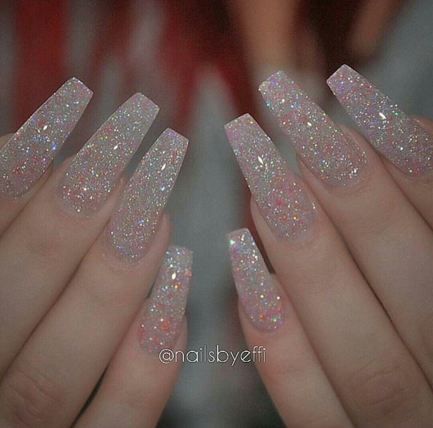 Swarovski Glitter Powder Coffin Nails | Prom nails | Pinterest ...