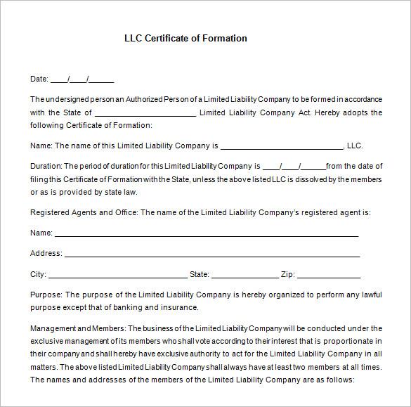 Llc Membership Certificate Template Word 9 Templates