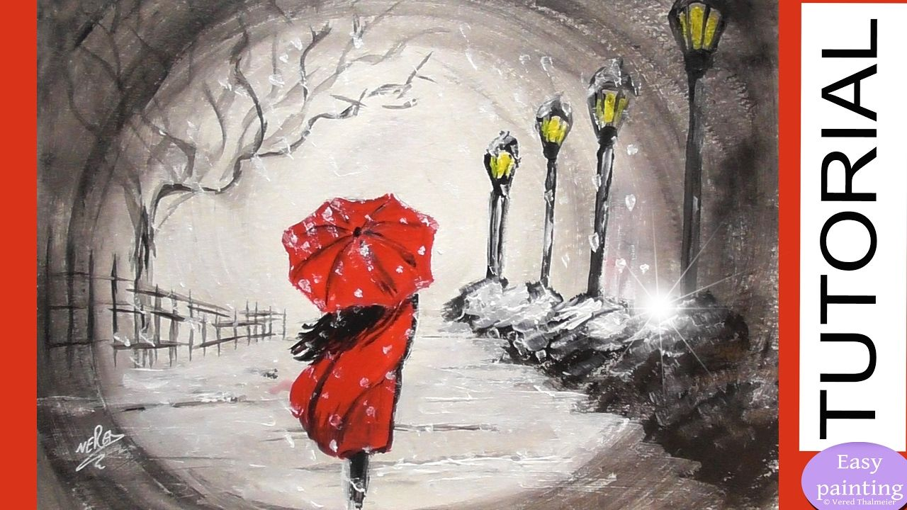 Black White Red Painted Rocks How To Paint Woman Red Umbrella In
