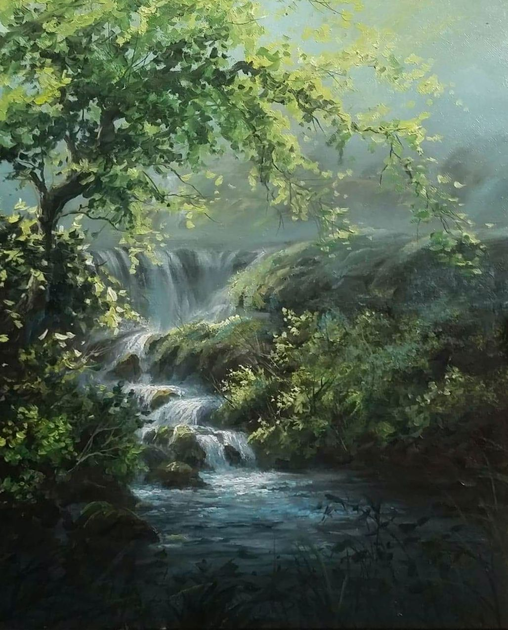 Sunlit Waterfall Paint With Kevin Waterfall Paintings Kevin Hill Paintings Oil Painting Landscape
