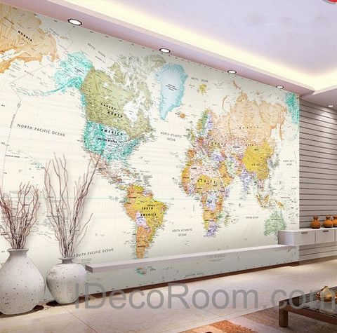 Colorful hd world map wallpaper wall decals wall art print mural all gumiabroncs Gallery