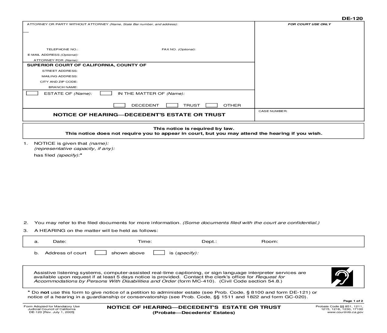 Civil Summons Form Fair This Is A California Form That Can Be Used For Probatedecedents .