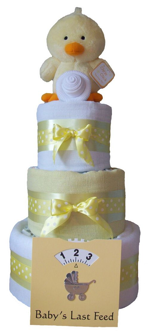 PureNappyCakes Girls Deep Filled Nappy Cakes 3 Tiers