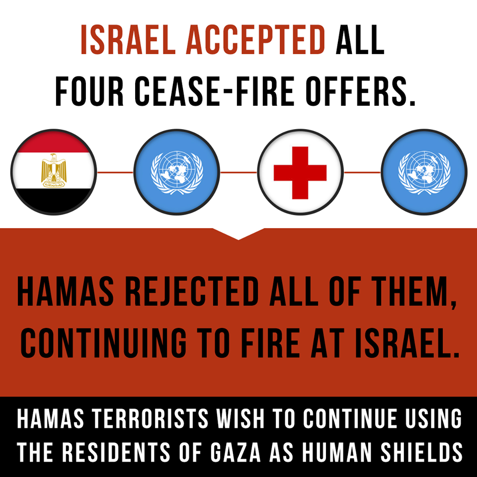 SHARE THE TRUTH: Israel accepted all four cease-fire offers, while Hamas rejected them, continuing to fire at Israel. pic.twitter.com/EQhuz5fkqa
