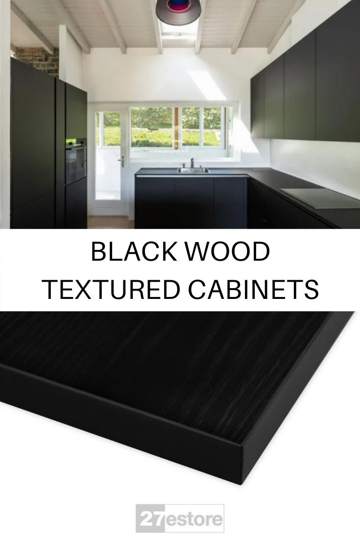 Black Wood Deep Grain Textured Kitchen Cabinets In 2020 Kitchen Design Styles Classic Kitchen Design Kitchen Cabinet Colors
