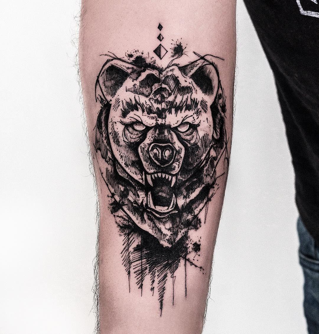 Angry Bear Tattoo Idea On The Arm Bear Tattoos Bear Tattoo