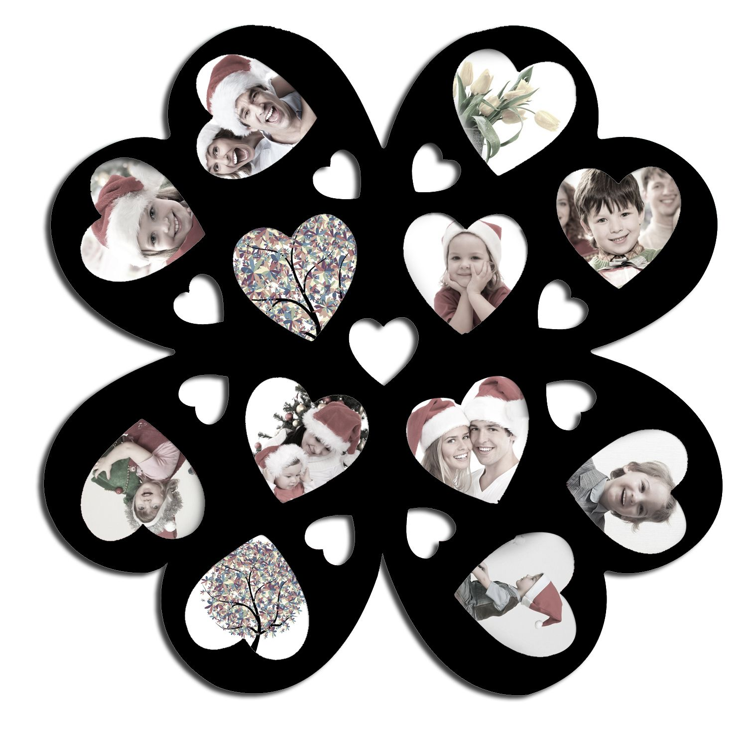 Adeco Decorative Black Wood Wall Hanging Multi Heart Pf0180 For