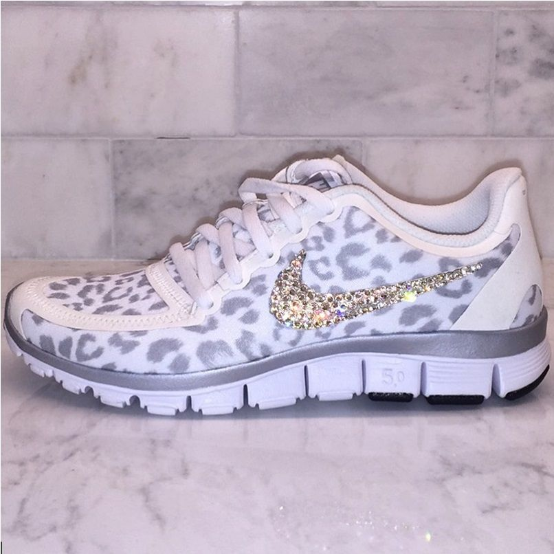 cdc05410a56 Bling White and Silver Cheetah   Leopard Print Nike Free 5.0 V4 Swarovski  in Athletic