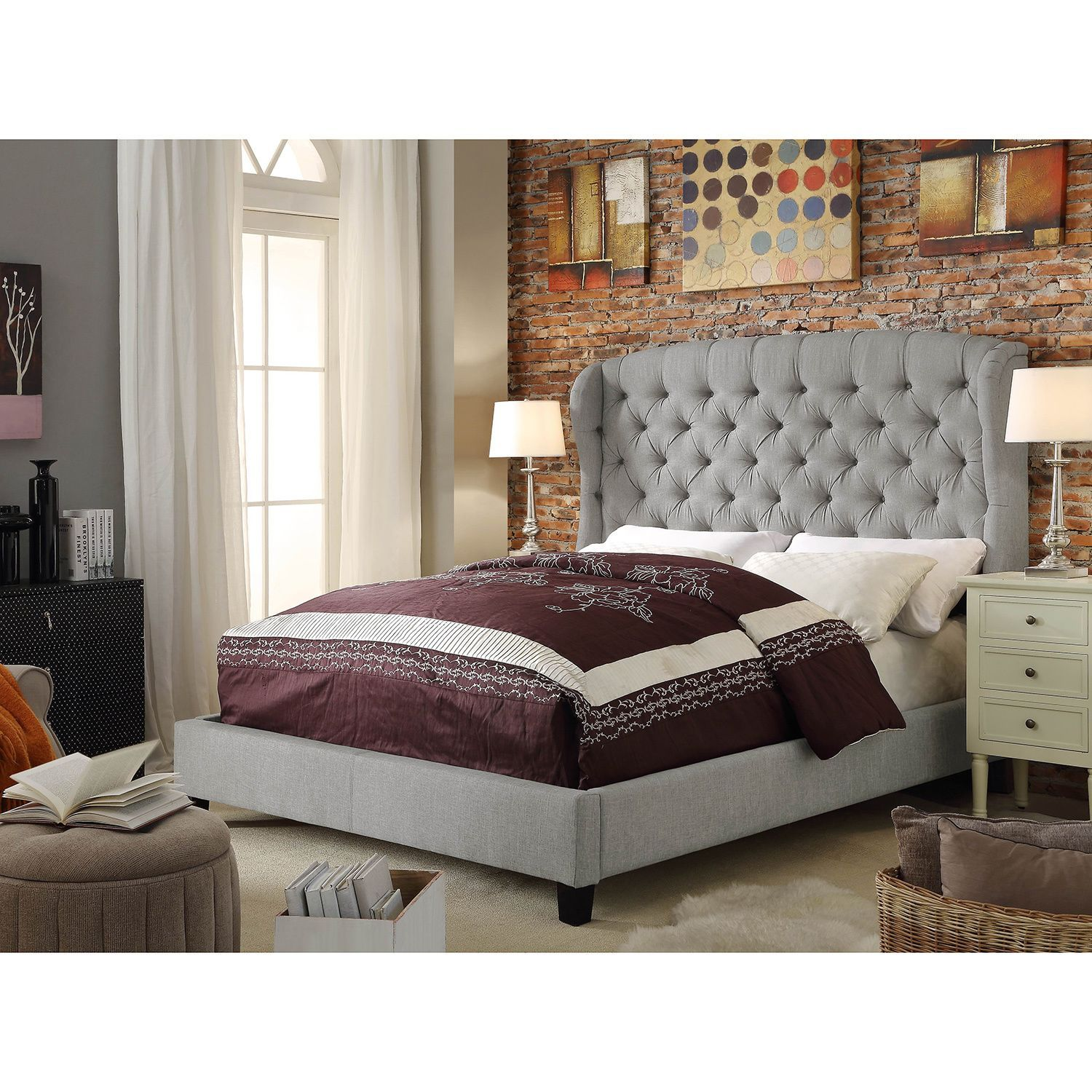 The perfect decor accent to your bedroom this gorgeous grey bed