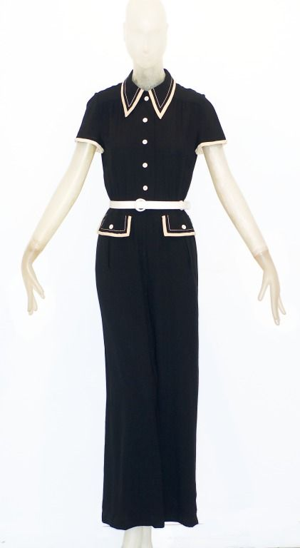 1970s Galanos Jumpsuit in Black and Cream image 2