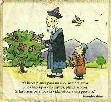 """Proverbio chinese: """"Se fai dei piani per un anno, semina del riso. Se li fai per due lustri, pianta alberi. Se li fai per tutta la vita, educa una persona"""""""