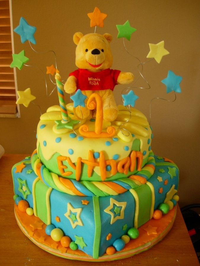 This winnie the pooh birthday cake, was copied from a picture I found online. I combined two cakes and added a few extra things. The cake I ...
