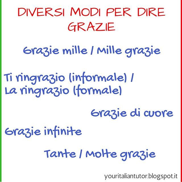 Today We Learn Different Way To Say Thak You In Italia