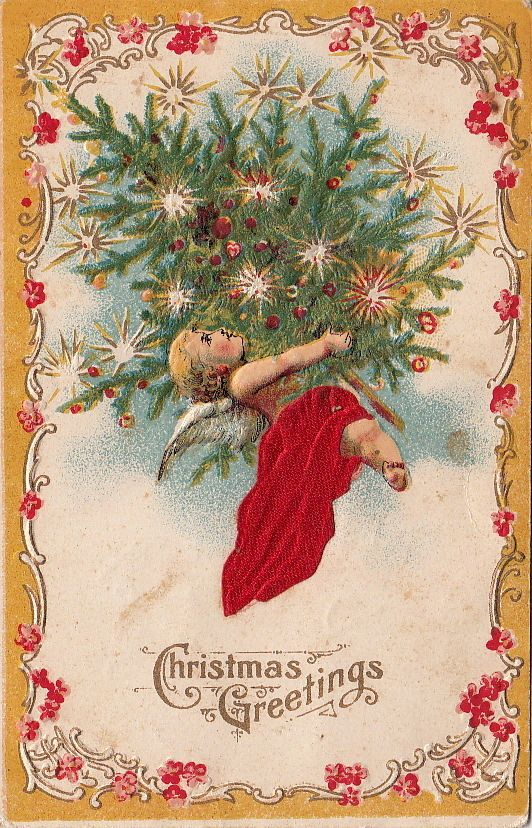 Postcard Christmas Greetings Silk Angel Flying Christmas Tree | eBay