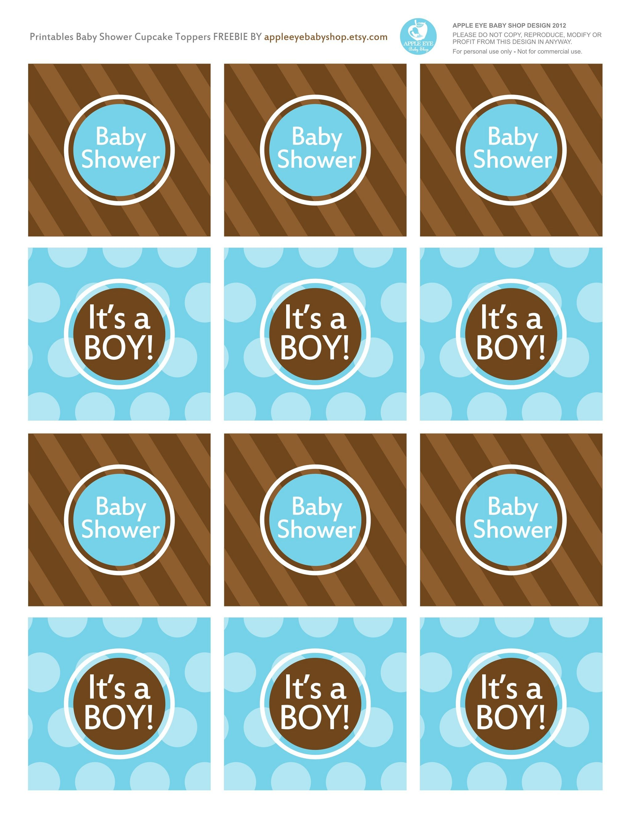 Baby Shower Free Printables It S A Boy Cupcake Toppers Blue And Brown Polka Dots Endless